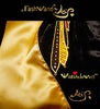 "FashWand Jeweled Metallic Embroidery Silk Velvet Scarf ""Golden Topaz The Long Tailed Bird of Paradise"""