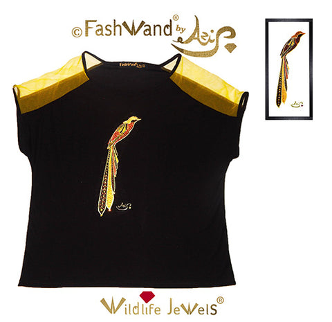"FashWand Jeweled Embroidery Wool & Italian Tulle Top ""Golden Topaz The Long Tailed Bird of Paradise"""