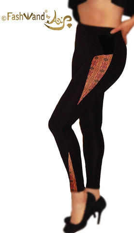 "FashWand Velvet Triangle Art Leggings ""Alexandrite Jewels"""