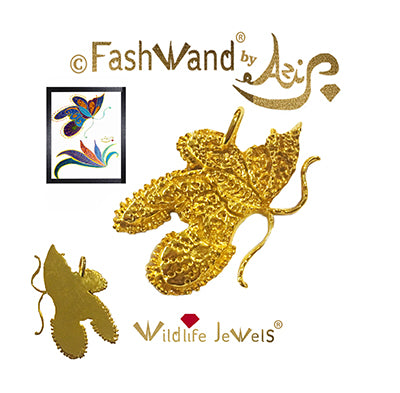 "FashWand 18K Solid Yellow Gold Pendant Wildlife Jewels ""Mandarin Garnet The Monarch Butterfly™"""