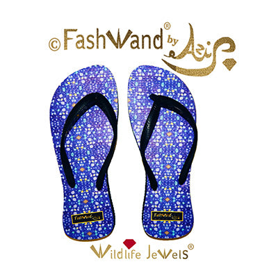 FashWand Wildlife Jewels Flip Flops in Lazuli Jewels