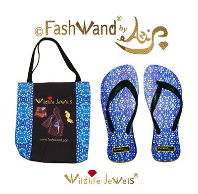 FashWand Flip Flops and Tote Gift Set in Wildlife Jewels Lazuli Jewels
