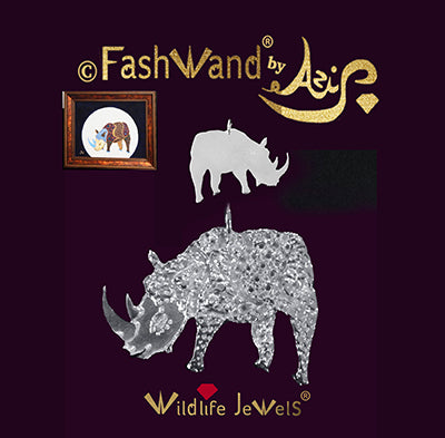 "FashWand Silver Pendant Wildlife Jewels ""Alexandrite The Rhino"""