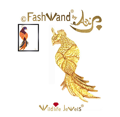 "FashWand 18K Solid Yellow Gold Pendant Wildlife Jewels ""Ruby The Six Plumed Bird of Paradise"""
