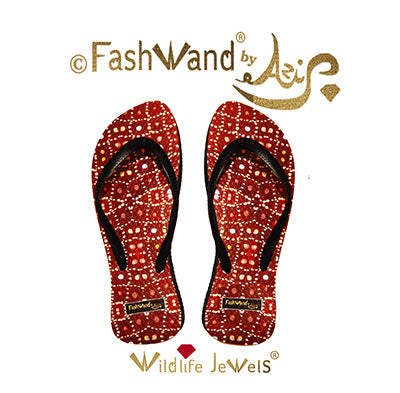 FashWand Wildlife Jewels Flip Flops in Ruby Jewels