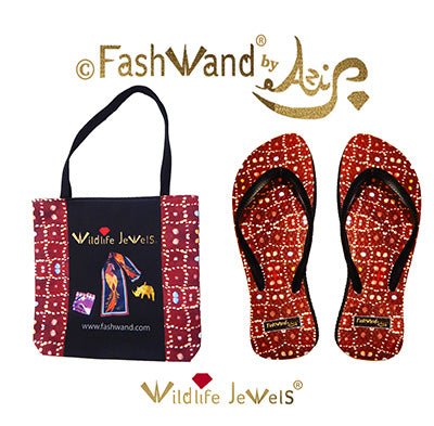 FashWand Flip Flops and Tote Gift Set in Wildlife Jewels Ruby Jewels