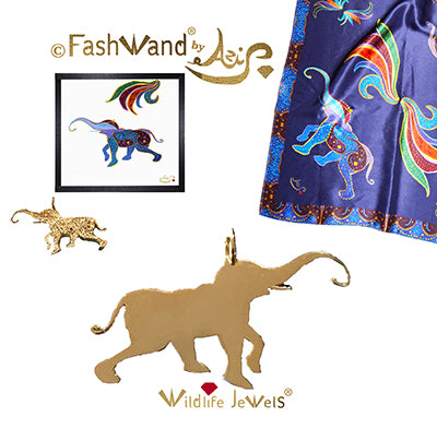 "FashWand 18K Solid Yellow Gold Pendant + Satin Scarf Wildlife Jewels ""Lapis Lazuli The Elephant"" Gift Set"