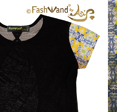 "FashWand Open Back Mesh Arte Top ""Yellow Crest"""