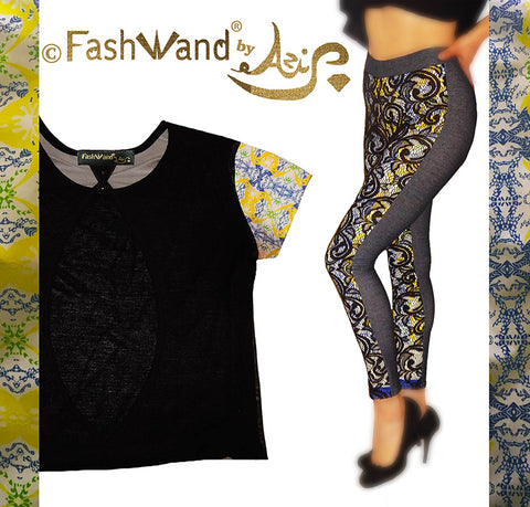"FashWand Mesh Top & Lace Arte Leggings in ""Yellow Crest"""