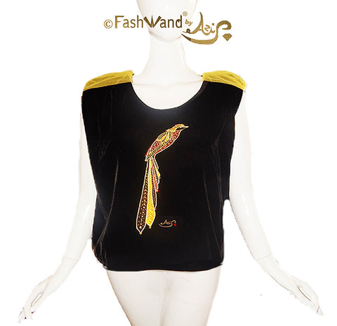 "FashWand Jeweled Embroidery Silk Velvet & Lace Top ""Golden Topaz The Long Tailed Bird of Paradise"""