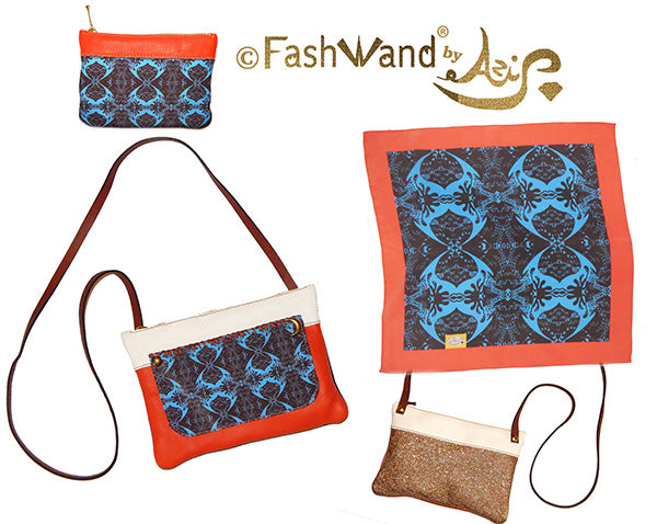 FashWand Italian ArteBorsa & Silk Scarf Gift Set in Midnight Crest