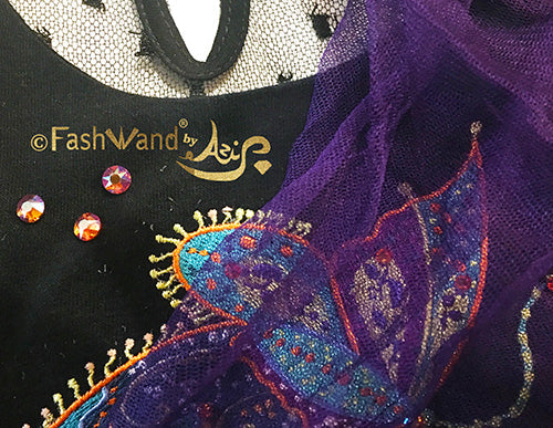 "FashWand Jeweled Embroidery Scalloped Lace Silk Tulle Dress ""Mandarin Garnet The Monarch Butterfly"""