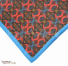 "Wrist Scarf Square in Printed Silk ""Red Crest"""