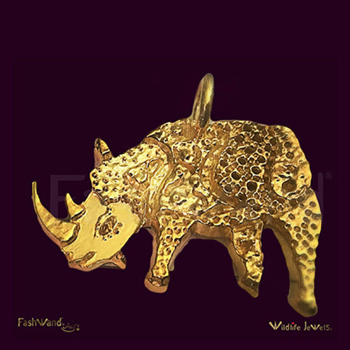 "Wildlife Jewels® ""Alexandrite The Rhino"" Painting 18K Gold Plated Pendant"