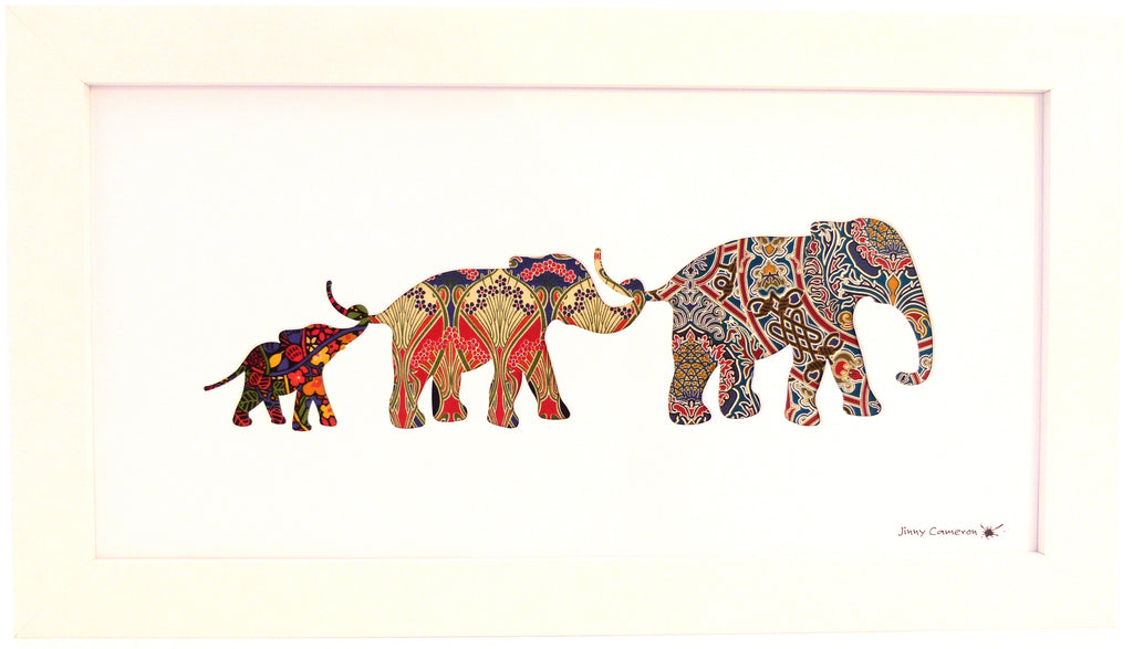 Liberty Fabric, elephants, Silhouette Art, Jinny Cameron, Gambier, Ianthe, Mackintosh