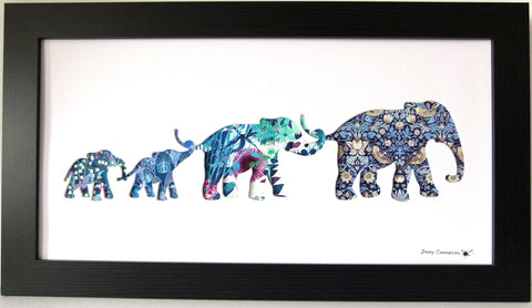 LIBERTY OF LONDON FABRIC 4 ELEPHANT FAMILY BLACK FRAME AQUA