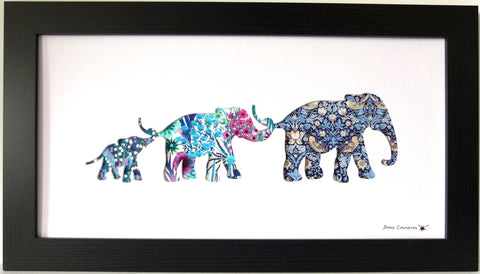 LIBERTY OF LONDON FABRIC 3 ELEPHANT FAMILY BLACK FRAME AQUA
