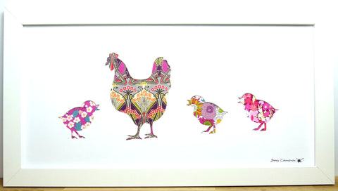 LIBERTY OF LONDON FABRIC CHICKEN FAMILY PICTURE 3776