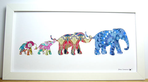 LIBERTY OF LONDON FABRIC ELEPHANT FAMILY PICTURE 3823