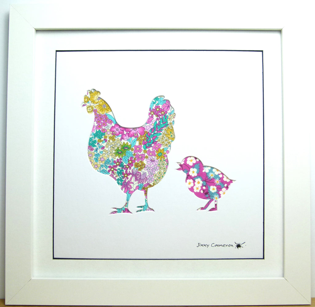 LIBERTY OF LONDON FABRIC CHICKEN PARENT & CHILD PICTURE 3845