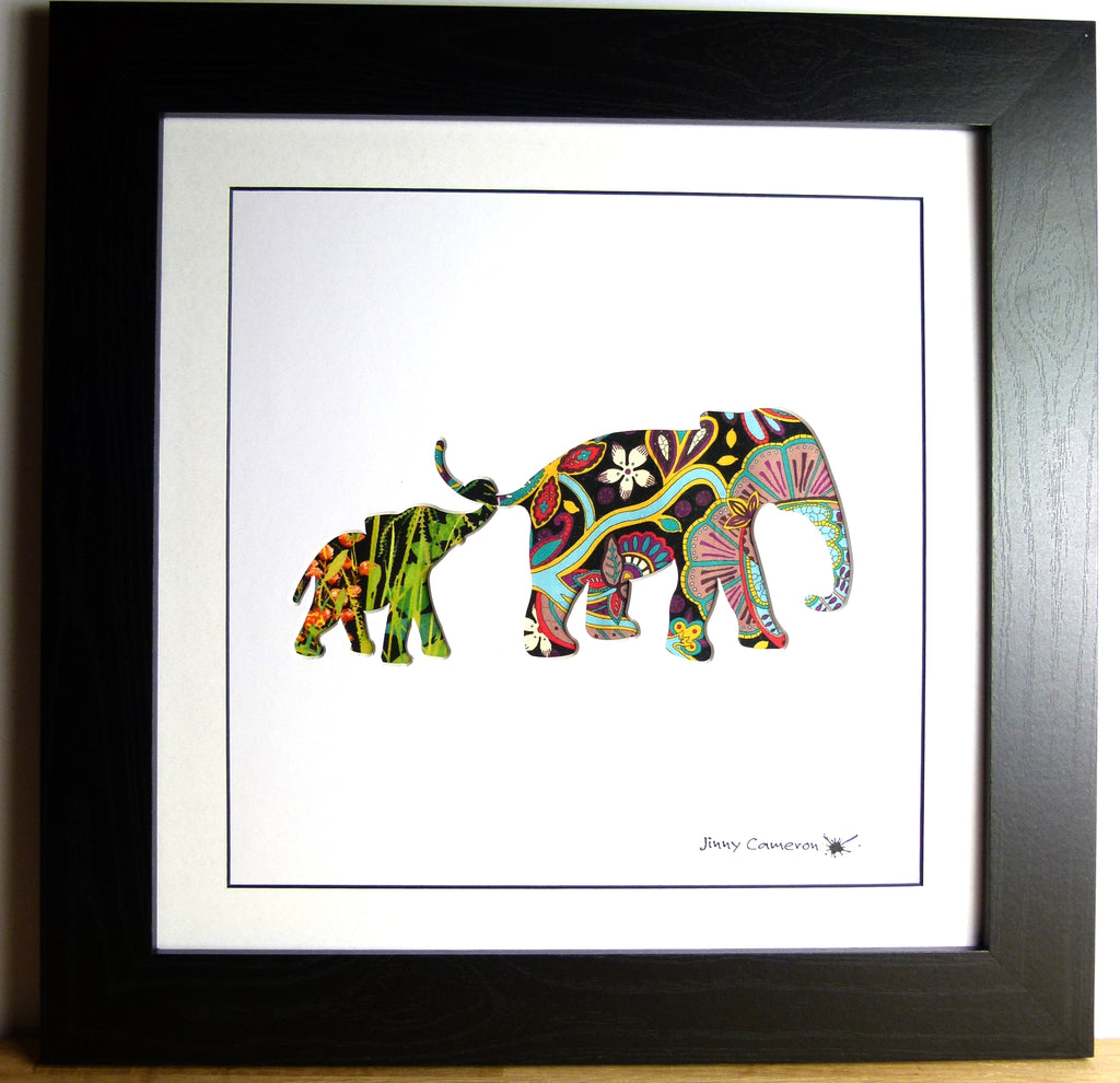 LIBERTY OF LONDON FABRIC ELEPHANT PARENT & CHILD BLACK FRAME