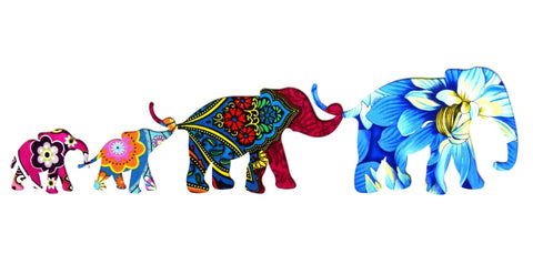 Four Elephant Family 2 Rectangular Card