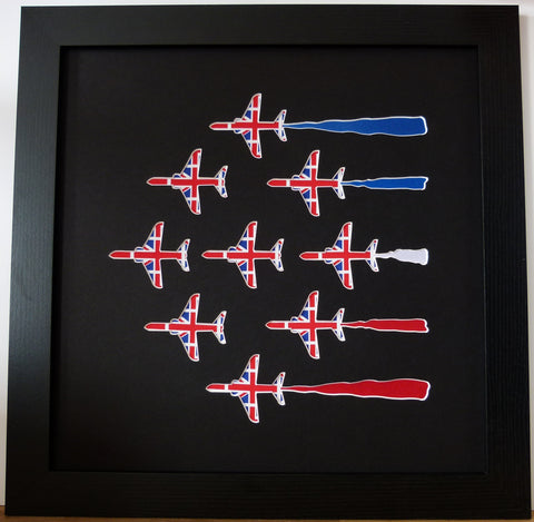 9 RED ARROWS IN UNION JACK FABRIC BLACK
