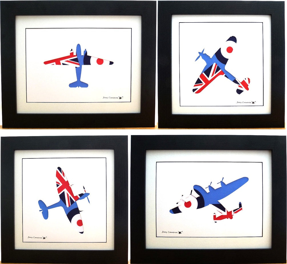 4 BATTLE OF BRITAIN AIRCRAFT IN ROYAL AIR FORCE ENSIGN FABRIC BBMF
