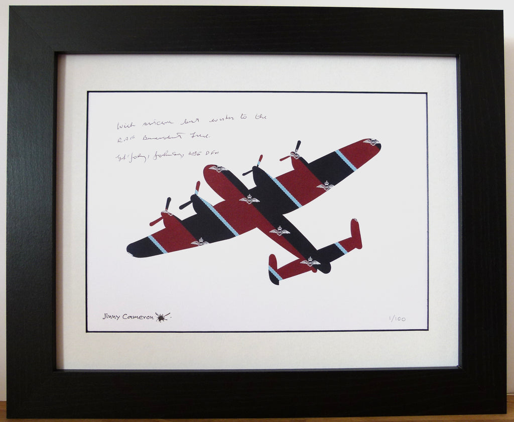 LIMITED EDITION PRINT LANCASTER IN ROYAL AIR FORCE PILOT TIE ORIGINAL SIGNED BY JOHNNY JOHNSON
