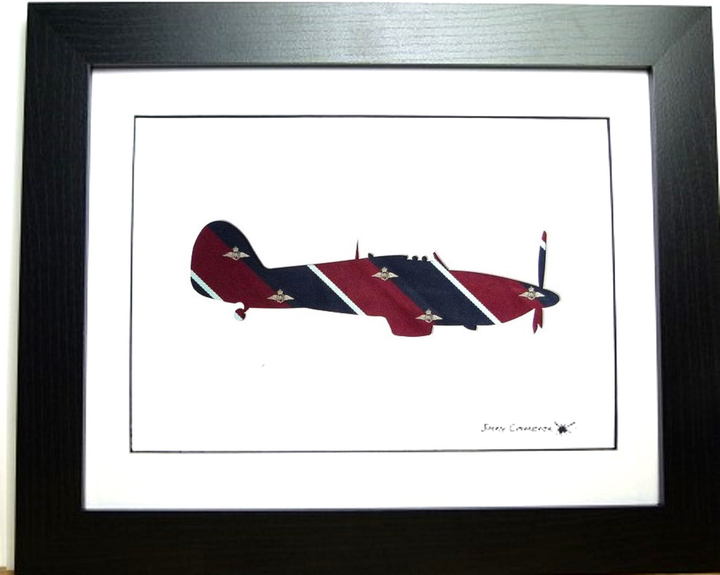 Hawker hurricane silhouette art work RAF pilot tie fabric picture wall art