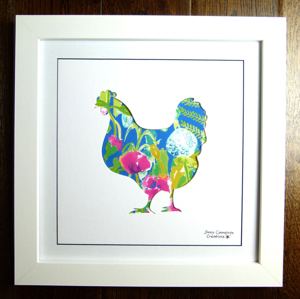 LIBERTY OF LONDON FABRIC CHICKEN FRAMED PICTURE 3280