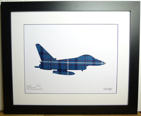 PILOT SIGNED TYPHOON IN RAF TARTAN PICTURE