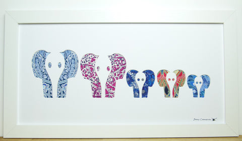 LIBERTY OF LONDON FABRIC ELEPHANT FAMILY PICTURE FACE ON