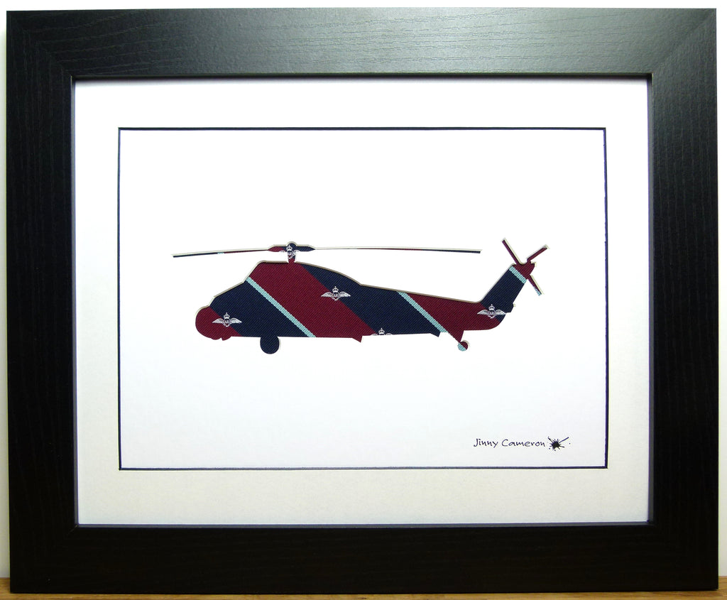 wessex helicopter silhouette art work RAF tie fabric picture wall art