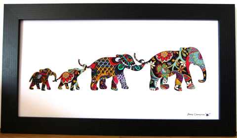 LIBERTY OF LONDON FABRIC 4 ELEPHANT FAMILY BLACK FRAME
