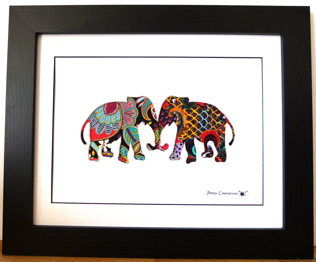 LIBERTY OF LONDON FABRIC 2 ELEPHANT FACE TO FACE BLACK FRAME