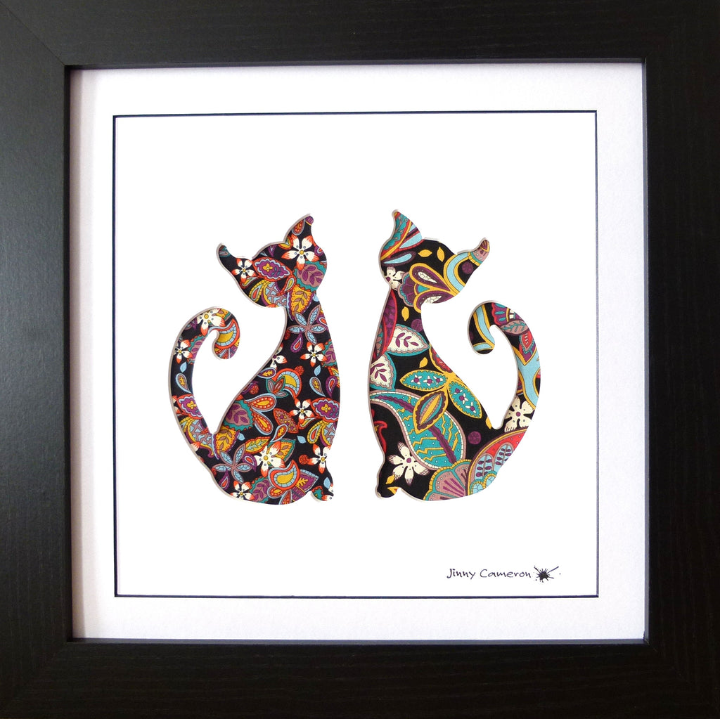 LIBERTY OF LONDON FABRIC CATS BLACK FRAME
