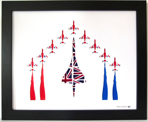 CONCORD & 9 RED ARROWS IN UNION JACK FABRIC WHITE