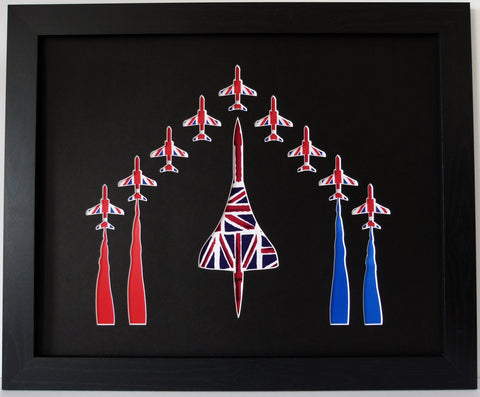 CONCORD & 9 RED ARROWS IN UNION JACK FABRIC BLACK