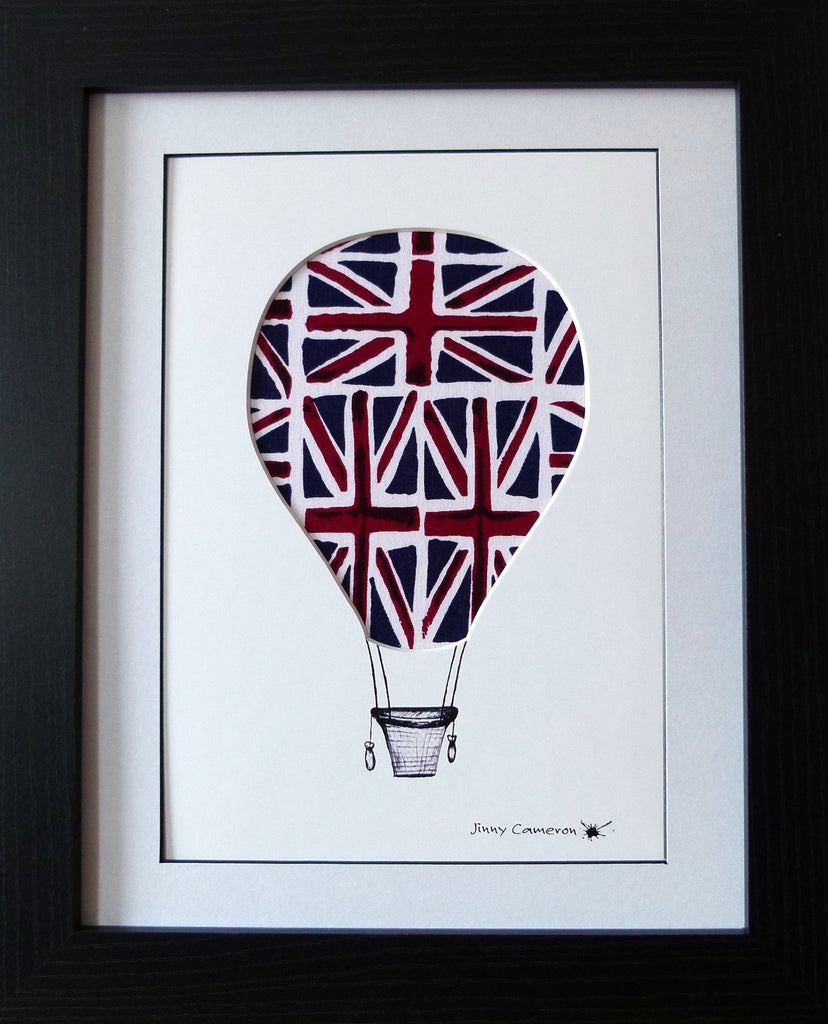 HOT AIR BALLOON IN UNION JACK FABRIC WALL ART UNIQUE DESIGN BRISTOL BALLOON FIESTA