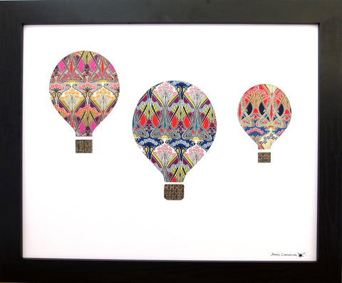 3 HOT AIR BALLOONS #2 IN LIBERTY OF LONDON WHITE