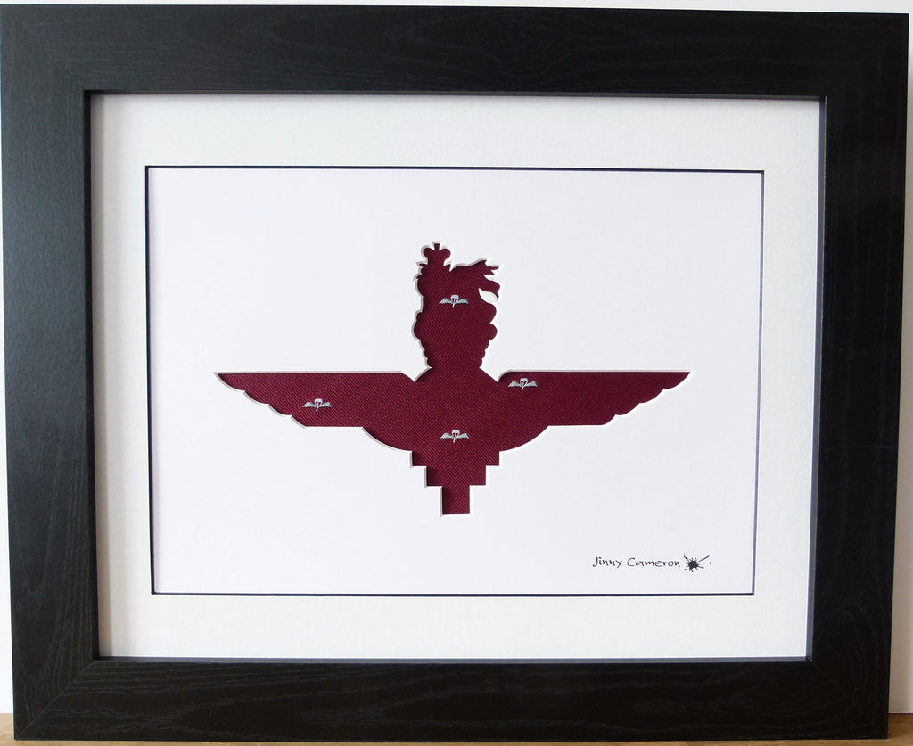 Paras Parachute Regiment Cap Badge in tie fabric wall art gifts for him