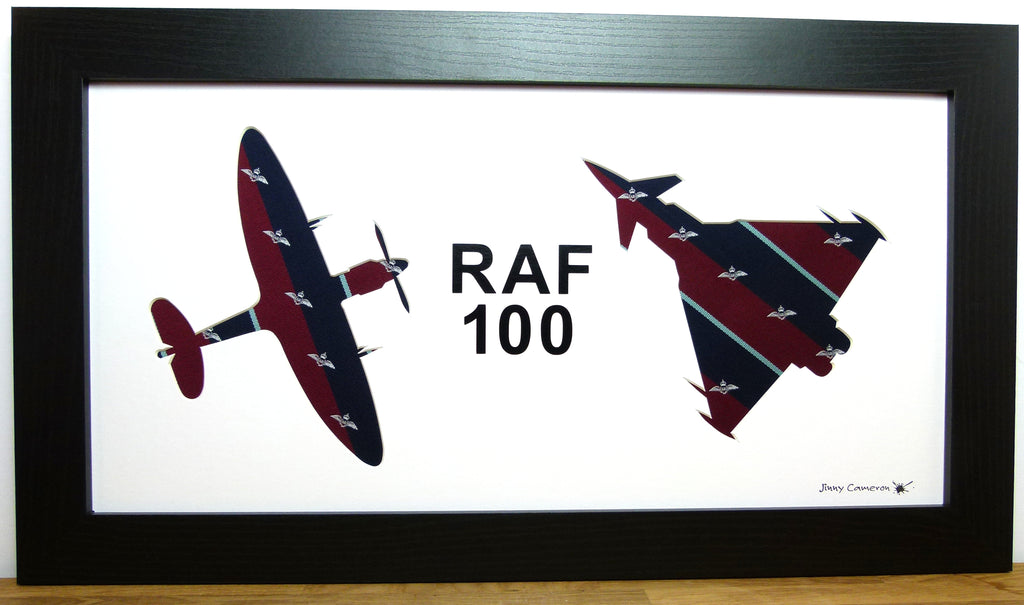 RAF 100 spitfire and typhoon eurofighter silhouette art work RAF tie fabric picture wall art