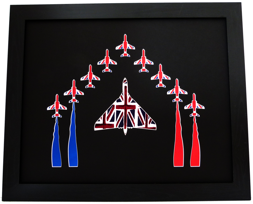 RED ARROWS VULCAN UNION JACK FABRIC WALL ART UNIQUE SILHOUETTE ART