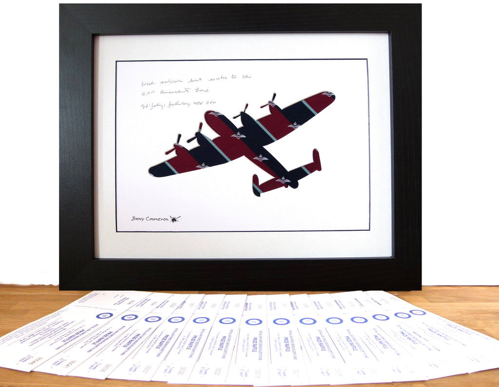 RAFFLE FOR LANCASTER IN ROYAL AIR FORCE PILOT TIE PICTURE SIGNED BY JOHNNY JOHNSON