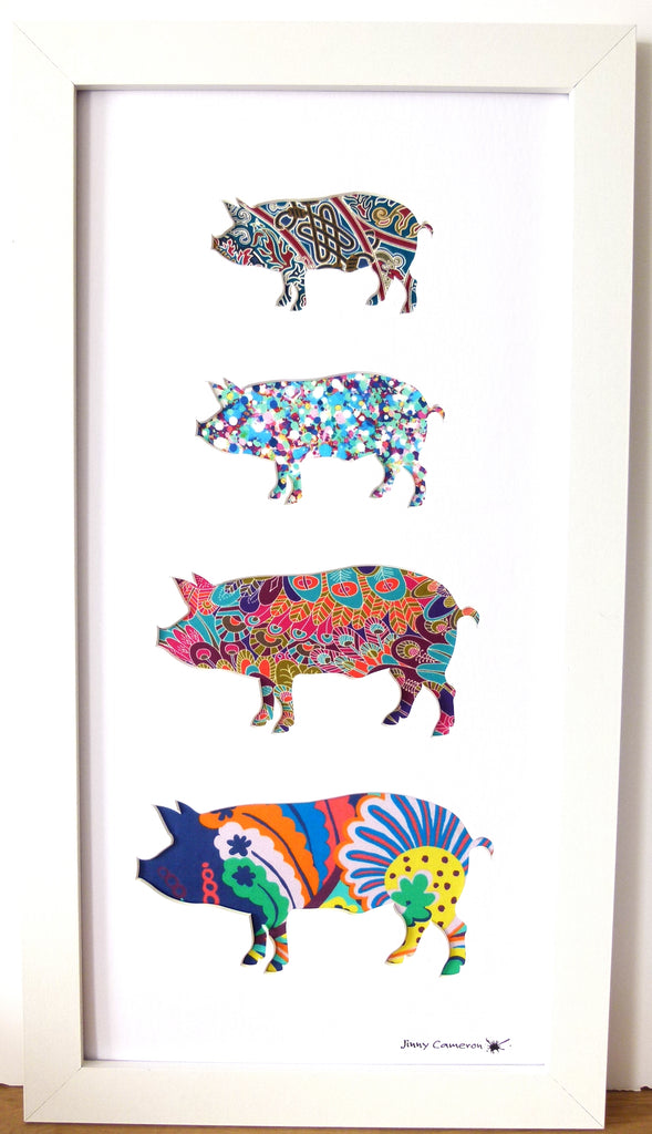 LIBERTY OF LONDON FABRIC 4 PIG FAMILY WHITE
