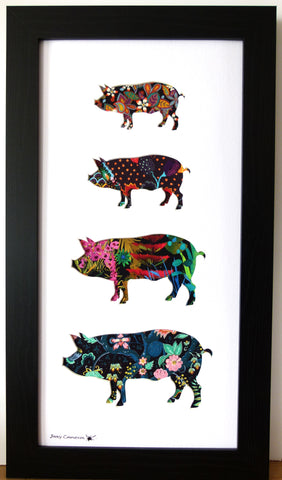 LIBERTY OF LONDON FABRIC 4 PIG FAMILY BLACK