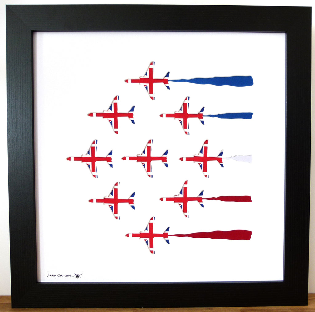 9 RED ARROWS IN UNION JACK FABRIC