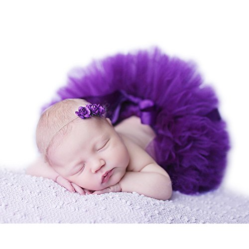 Fashion Unisex Newborn Girl Baby Outfits Photography Props Headdress Tutu Skirt (Purple)
