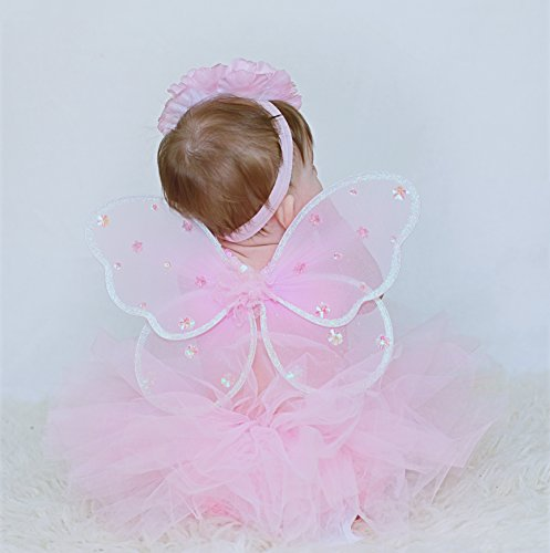Baby Tutu Set with Fairy Wings and Headband in Pink (IM (6-12 months))